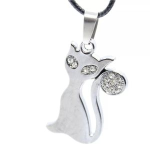 NWOT silver sparkly cat pendant necklace